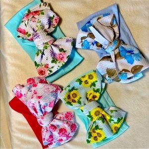 4pc BundleBaby Girl Big Bow Headbands Floral Print